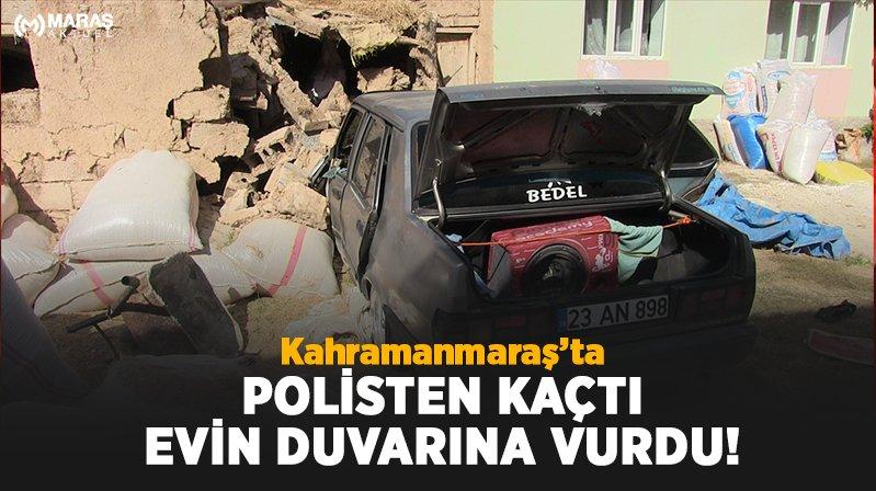 Polisten kaçan şüpheli aracıyla evin duvarına çarpınca yakalandı