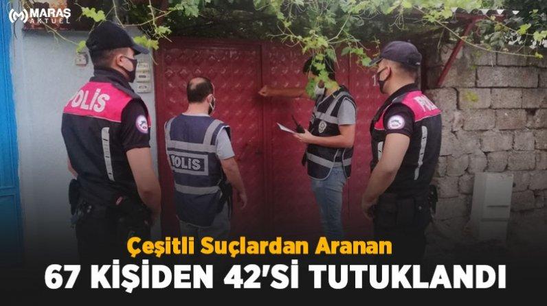 Çeşitli Suçlardan Aranan 67 Kişiden 42'si Tutuklandı